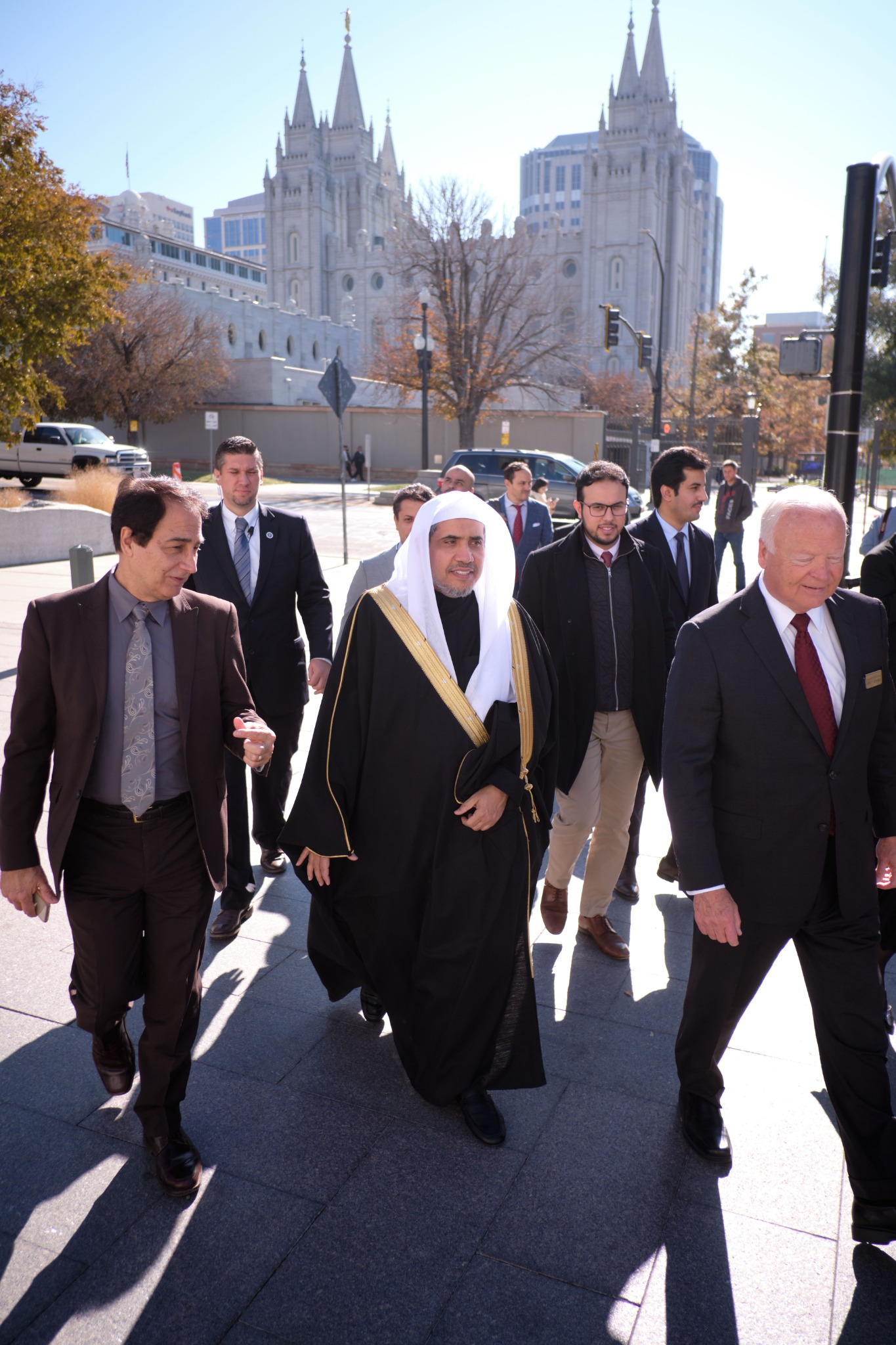His Excellency Dr. Mohammad Al-Issa, secretary-general of the Muslim World League, tours Temple Square in Salt Lake City on Nov. 5, 2019.