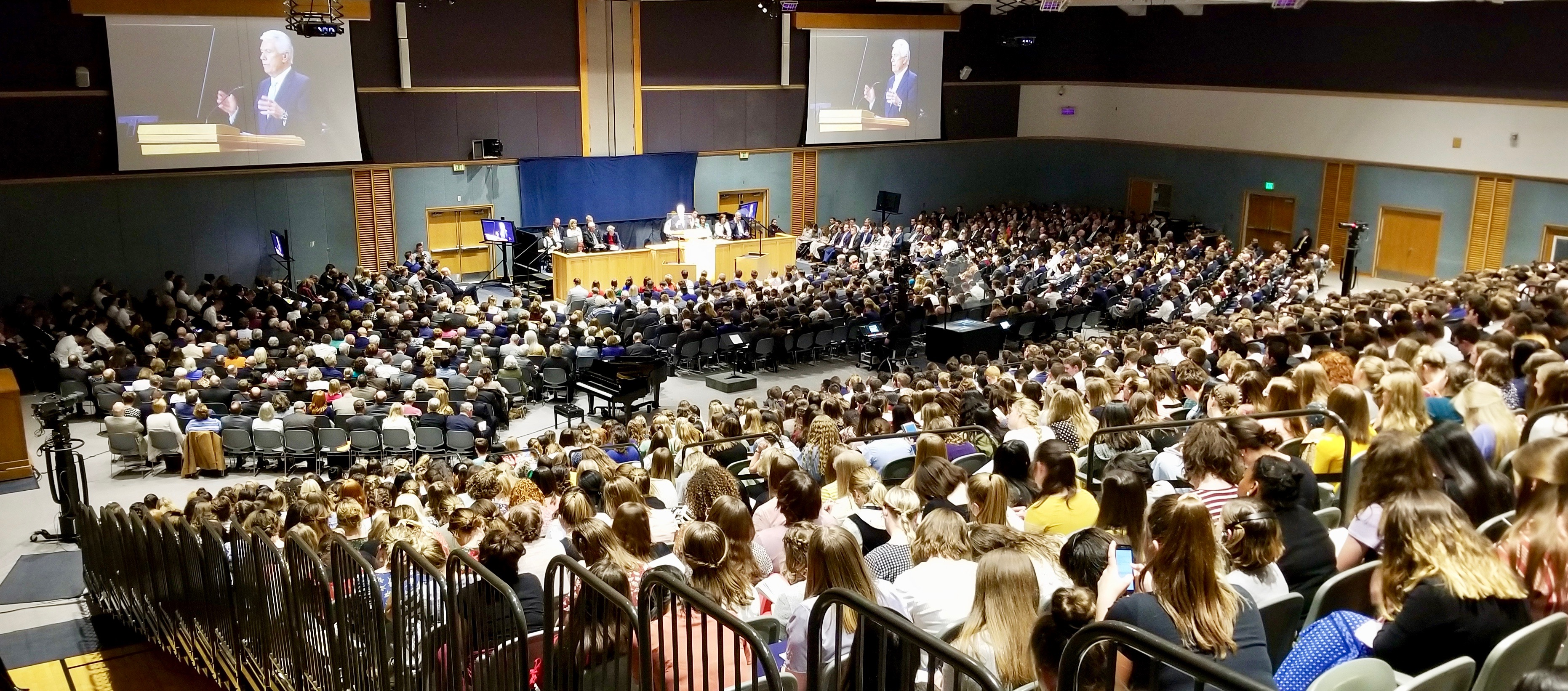 Elder Dieter F. Uchtdorf speaks to missionaries in a devotional at the Provo Missionary Training Center on Nov. 5, 2019.