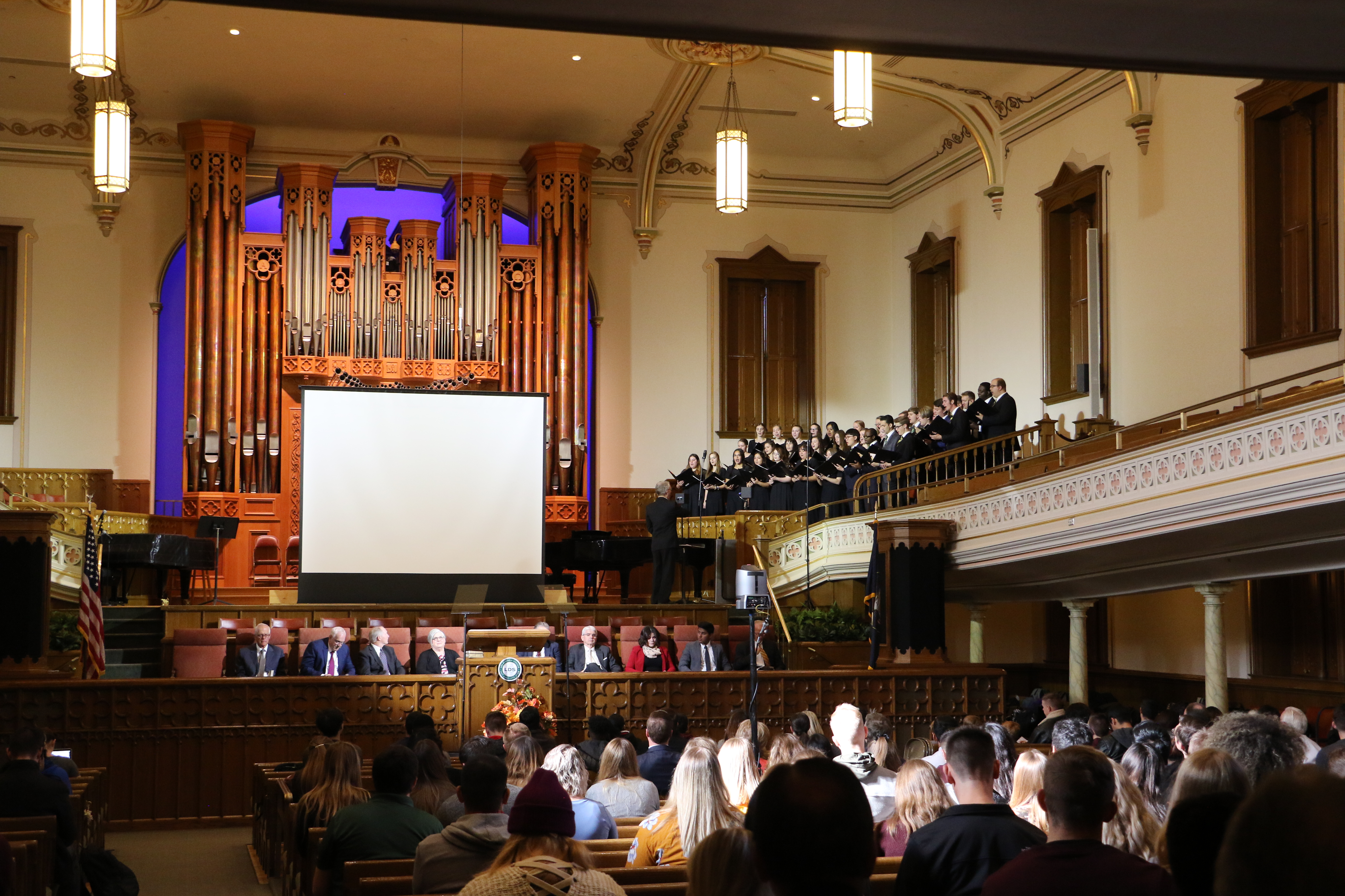 A combined choir of the BC Choir and the BC Voices performs during an LDS Business College devotional held in the Assembly Hall on Temple Square on Nov. 5, 2019.
