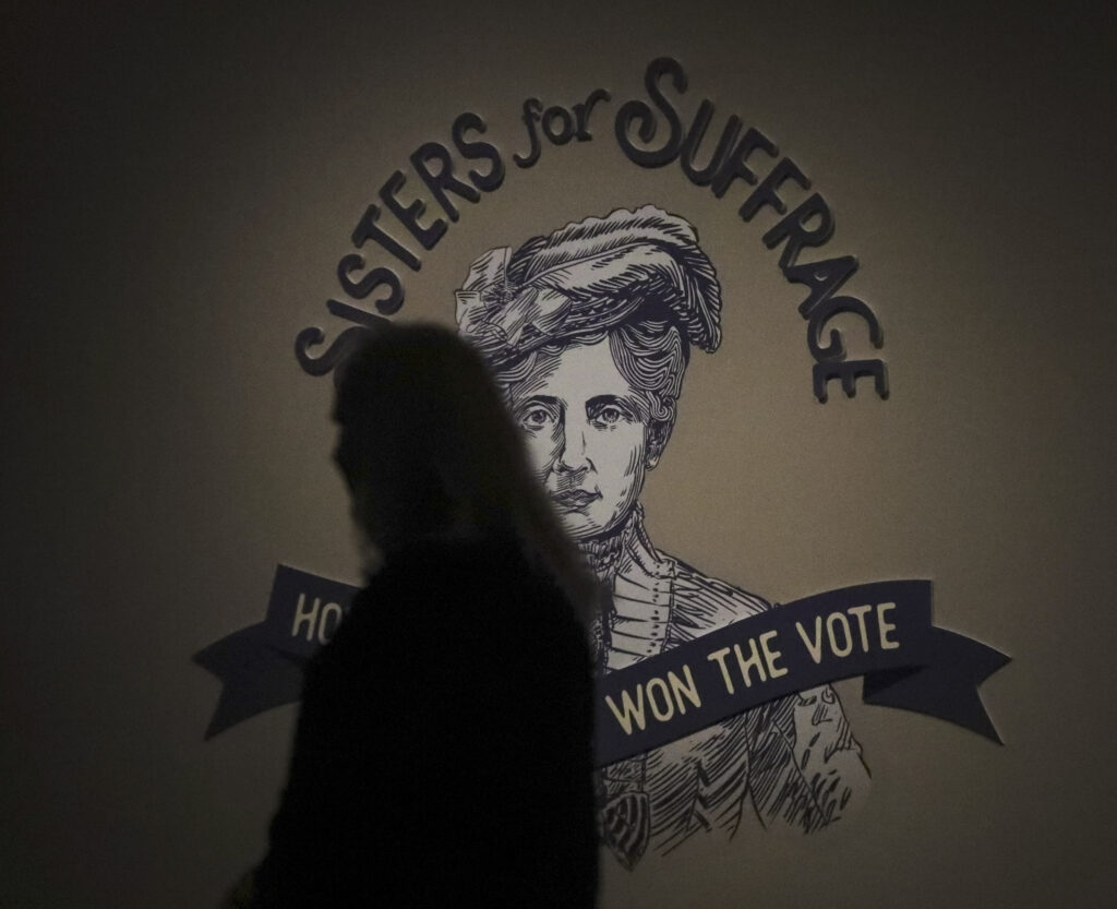 """The entrance to the Church History Museum's new exhibit """"Sisters for Suffrage: How Utah Women Won the Vote"""" in Salt Lake City on Thursday, Nov. 21, 2019."""