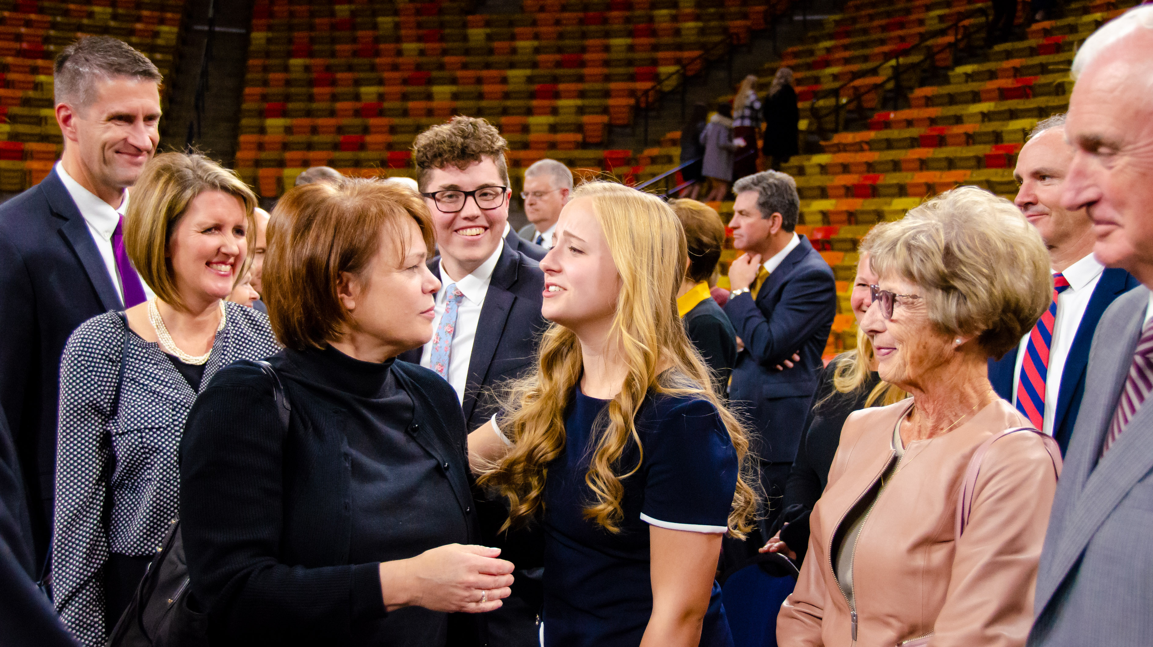 Sister Sharon Eubank greets attendees following a devotional at the Dee Glen Smith Spectrum at Utah State University on Sunday, Nov. 3, 2019, in Logan, Utah.