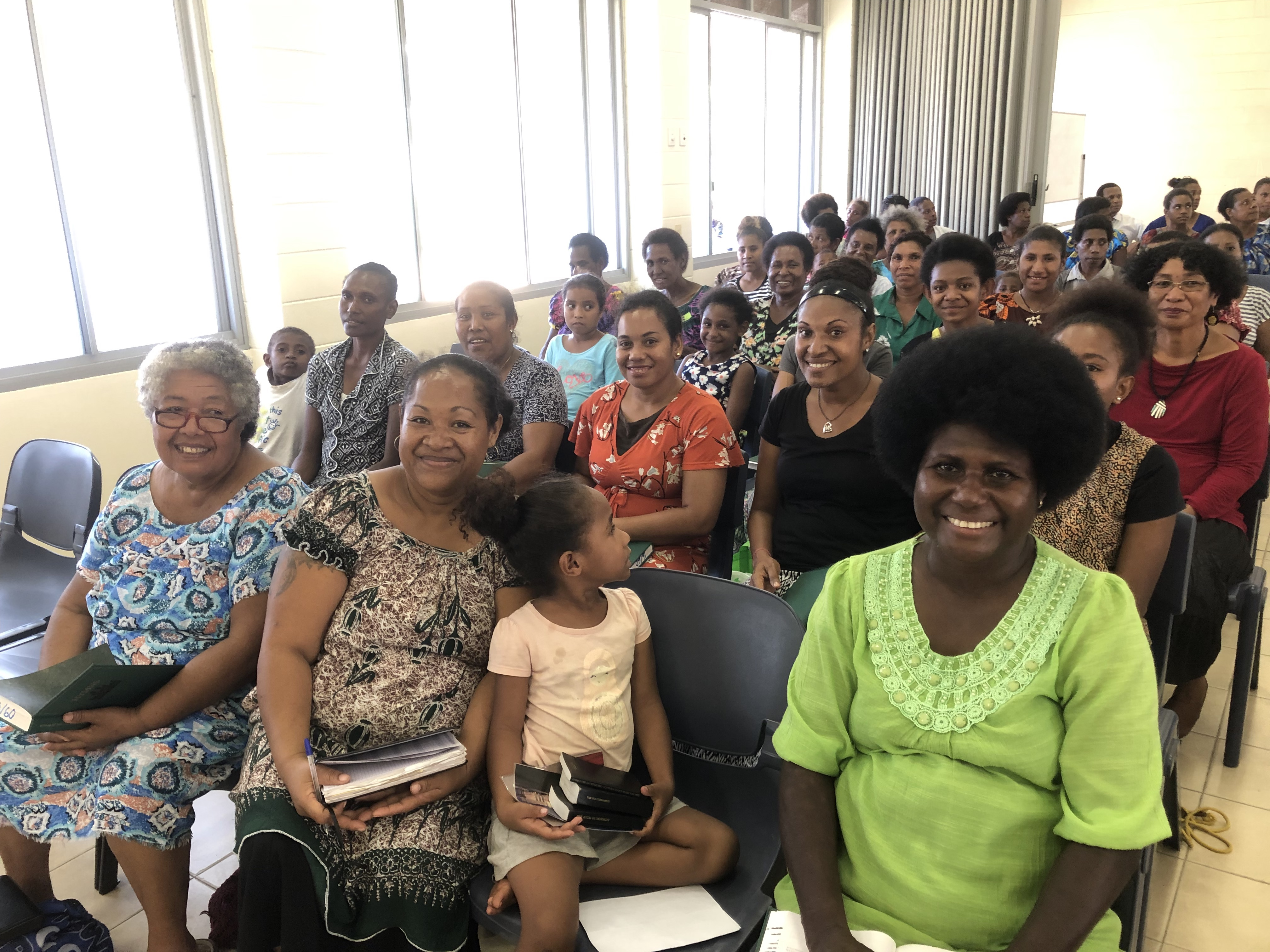 Members from the Port Moresby Papua New Guinea Stake and the Gerehu and Rigo districts in Papua New Guinea gather for a training meeting with Sister Sharon Eubank during her visit to the Pacific Area in October 2019.