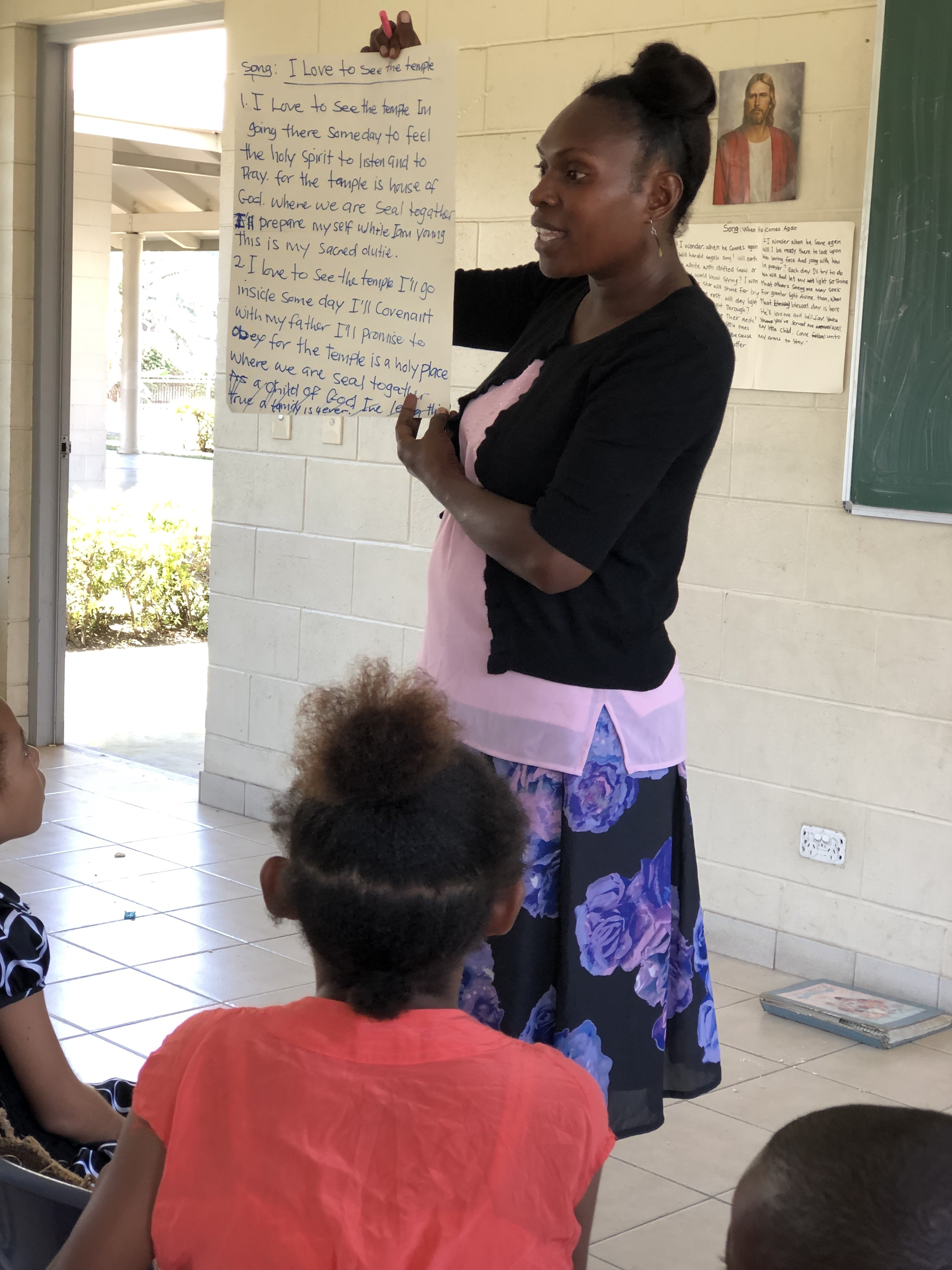 Members from the Port Moresby Papua New Guinea Stake and the Gerehu and Rigo districts in Papua New Guinea participate in a leadership training with Sister Sharon Eubank during her visit to the Pacific Area in October 2019.