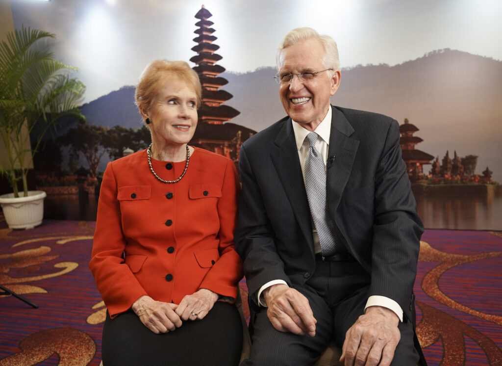 Elder D. Todd Christofferson of The Church of Jesus Christ of Latter-day Saints' Quorum of the Twelve Apostles and his wife, Sister Kathy Christofferson, smile during an interview in Jakarta, Indonesia, on Nov. 21, 2019.