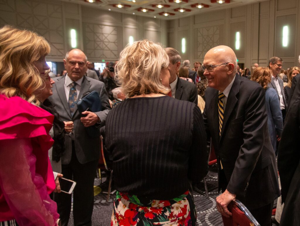 President Dallin H. Oaks of the Church's First Presidency greets people attending the Utah Philanthropy Day luncheon in Salt Lake City, Tuesday, Nov. 19, 2019.