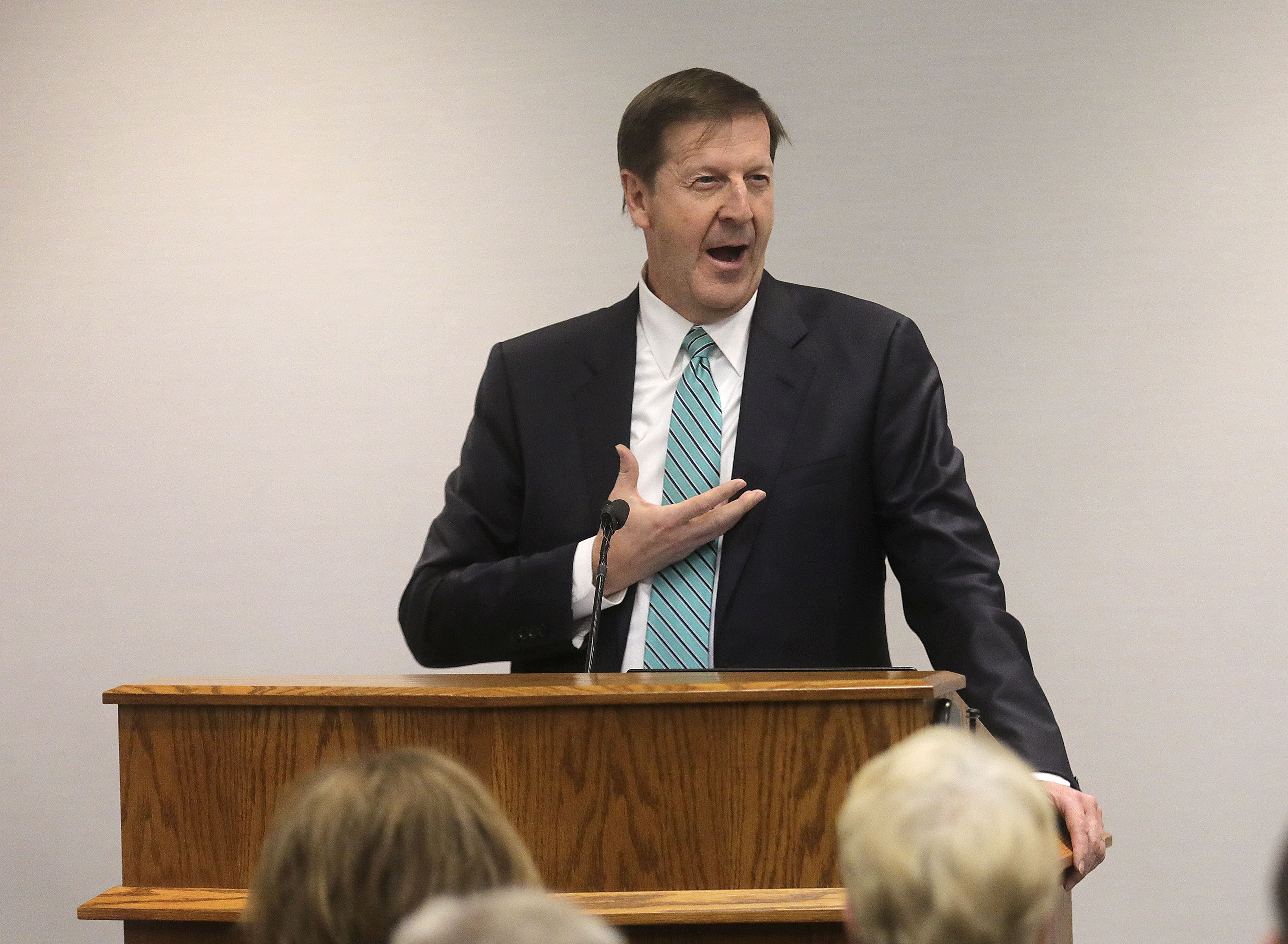 Steve Rockwood, FamilySearch CEO, speaks during the FamilySearch 125th anniversary celebration at the Family History Library in Salt Lake City on Wednesday, Nov. 13, 2019.