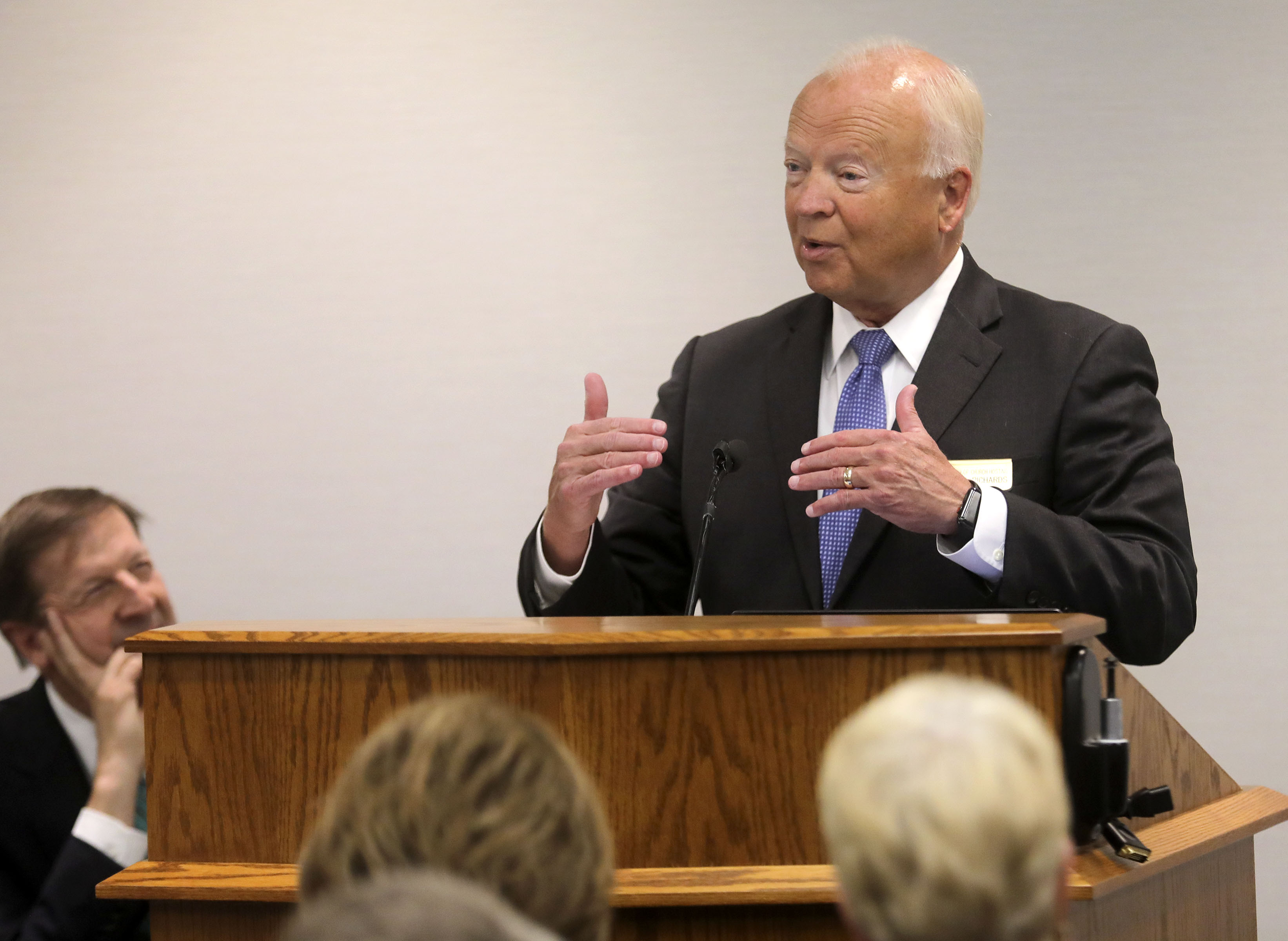 Elder Kent F. Richards, emeritus General Authority Seventy of The Church of Jesus Christ of Latter-day Saints, speaks during the FamilySearch 125th anniversary celebration at the Family History Library in Salt Lake City on Wednesday, Nov. 13, 2019.