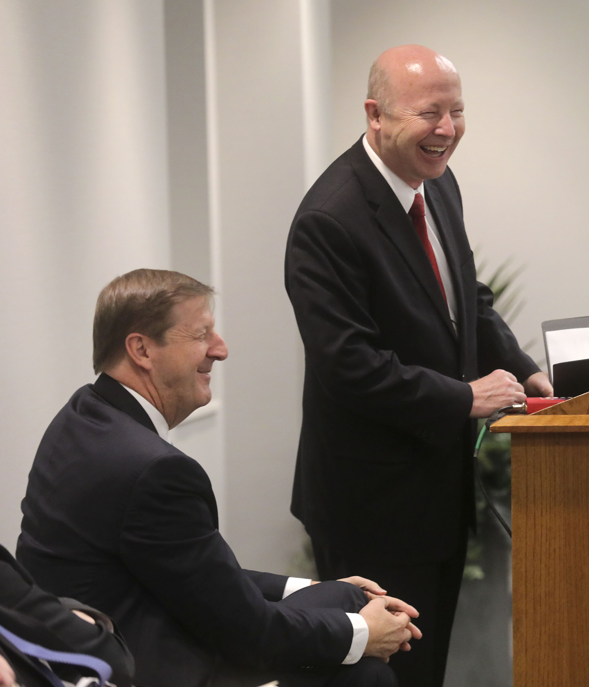 Steve Rockwood, FamilySearch CEO, left, and Richard E. Turley, right, former managing director of the Family History Department, laugh during the FamilySearch 125th anniversary celebration at the Family History Library in Salt Lake City on Wednesday, Nov. 13, 2019.