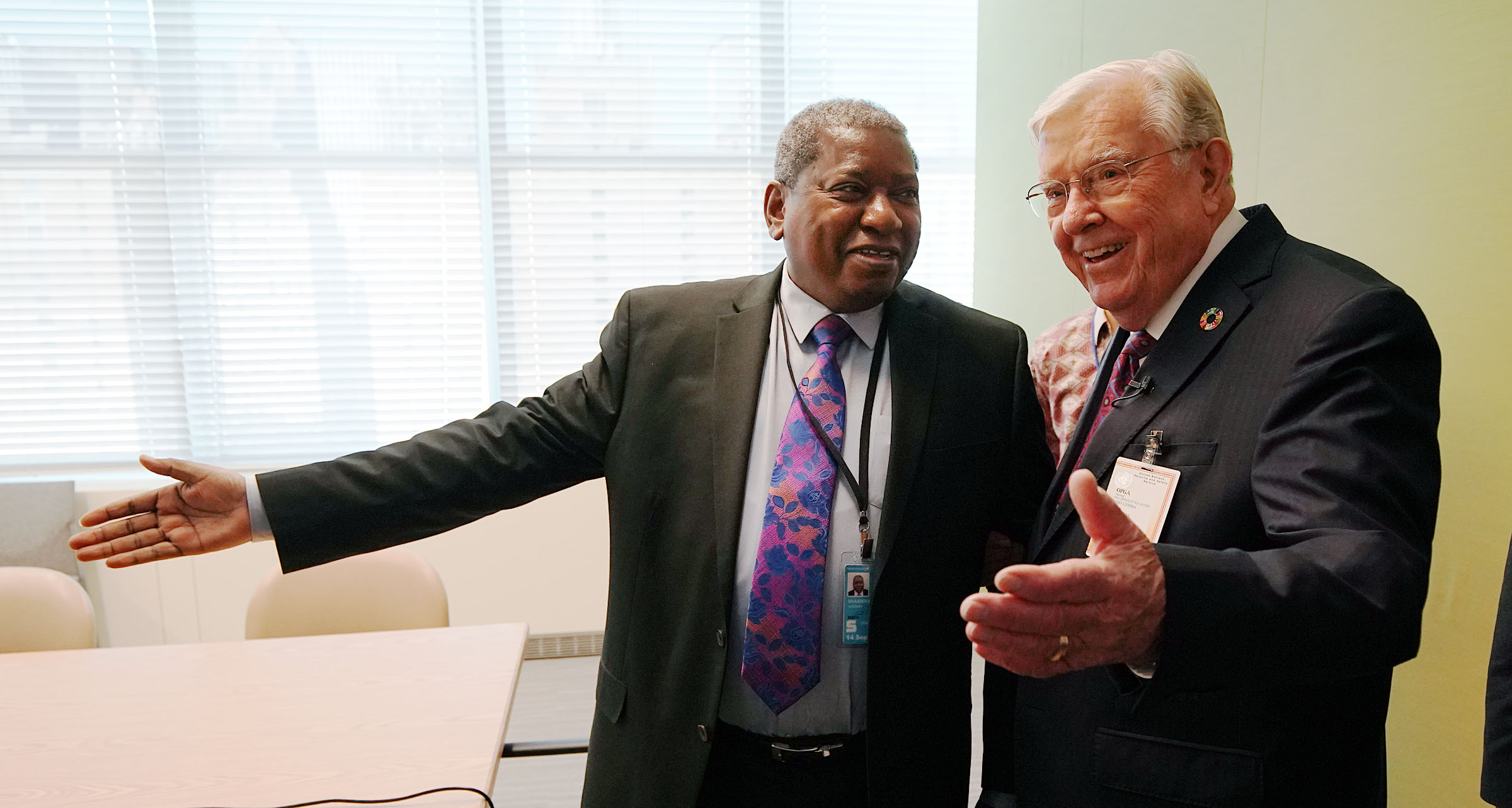 President M. Russell Ballard, right, acting president of the Quorum of the Twelve Apostles of The Church of Jesus Christ of Latter-day Saints, greets Jerobeam Shaanika, Deputy Chief de Cabinet, office of the President of the General Assembly of the United Nations 74th Session in New York City on Friday, Nov. 15, 2019.