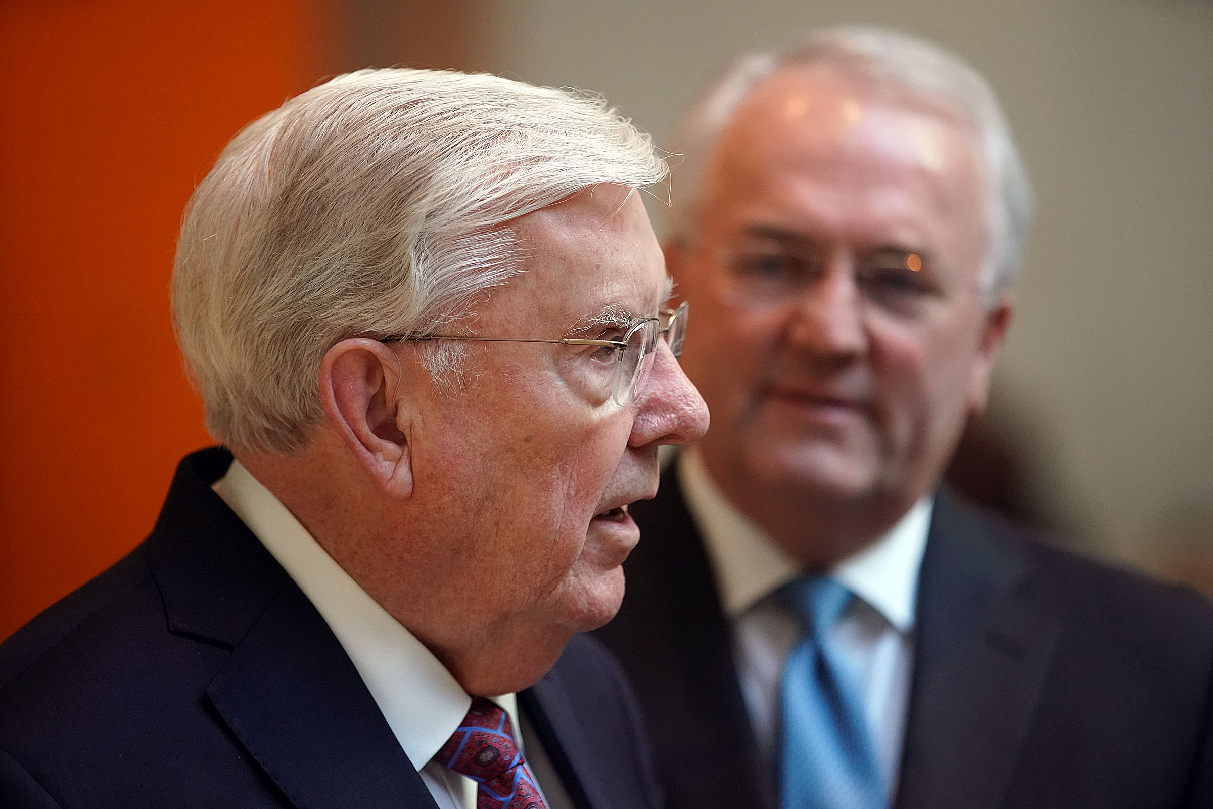 President M. Russell Ballard, left, acting president of the Quorum of the Twelve Apostles, and Elder Jack N. Gerard, General Authority Seventy, of The Church of Jesus Christ of Latter-day Saints, talk with the media following an interview with The New York Times in New York City on Friday, Nov. 15, 2019.