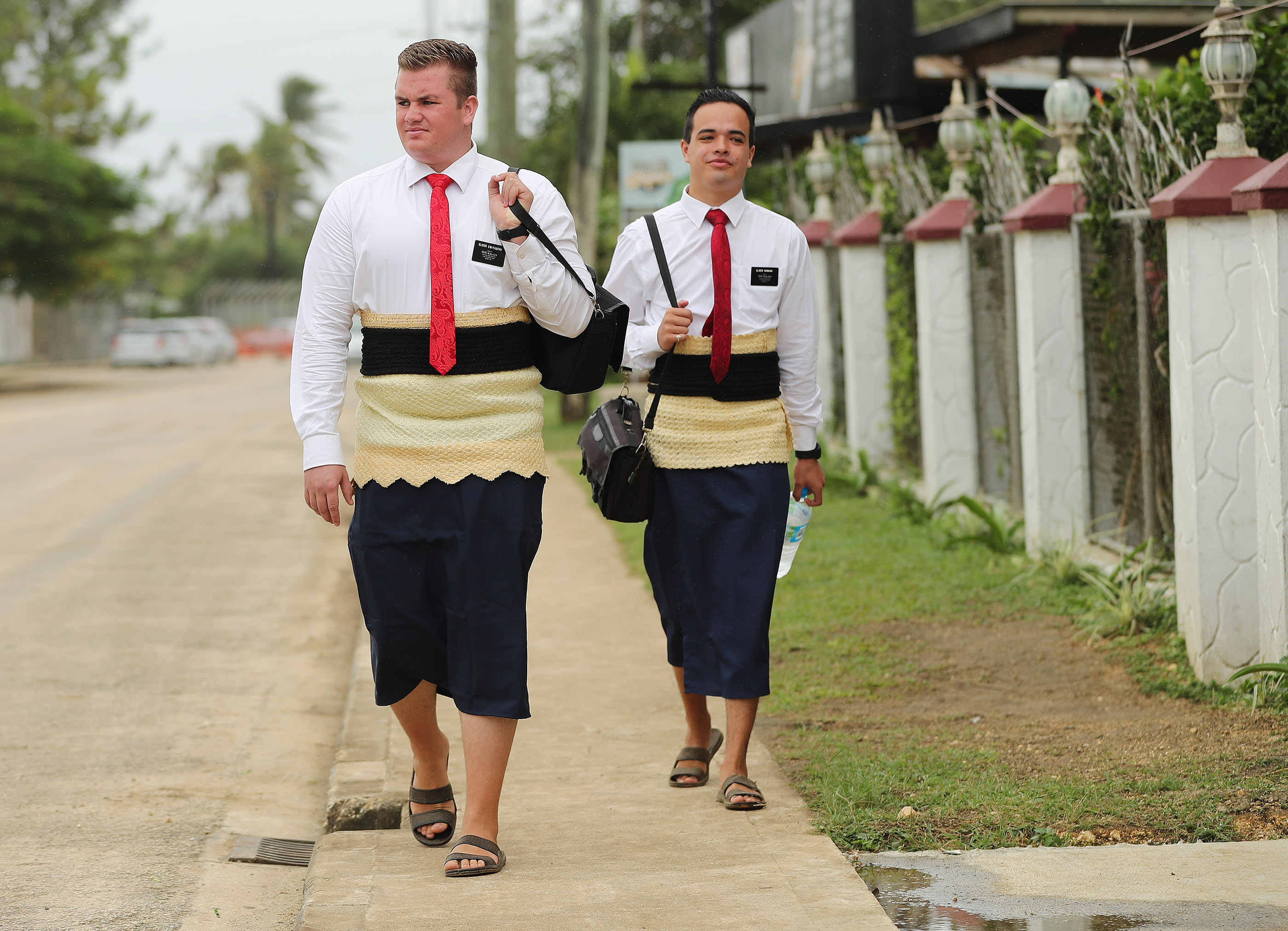 Elders Jason Andersen and Chet Norman do their missionary work In Tonga, on May 22, 2019.