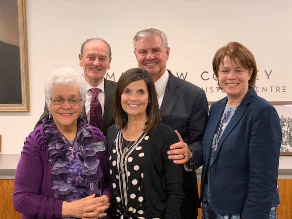 Sisters Sharon Eubank, right, with Sister Becky Craven and her husband, Brother Ron Craven, center, pose for a photo with with Sister Rangi Parker and Elder Vic Parker during a visit to theMatthew Cowley Pacific Church History Centre in Hamilton, New Zealand, during a ministering tour of the Pacific Area in October 2019.