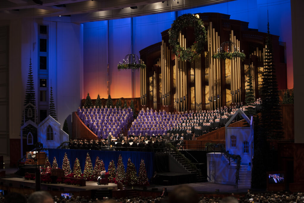 Members of the Tabernacle Choir and the Orchestra at Temple Square perform during the First Presidency ChristmasDevotional of The Church of Jesus Christ of Latter-day Saints at the Conference Center in Salt Lake City on Sunday, Dec. 8, 2019.