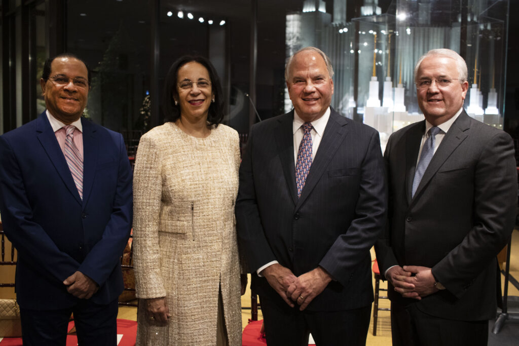 From left, Fuad Al Hinai, Ambassador Al Mughairy, Elder Ronald A. Rasband and Elder Jack N. Gerard following the opening ceremony of the Festival of Lights at the Washington D.C. Temple Visitors' Center on Tuesday, Dec. 3, 2019.