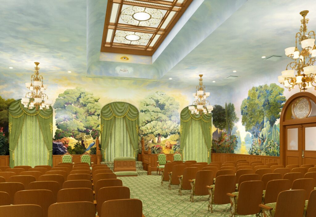 An artistic rendering of the renovated garden room in the Salt Lake Temple, December 2019.