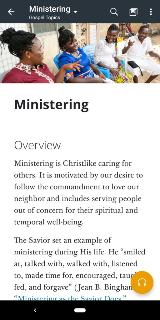 """A screenshot of the """"Ministering"""" topic in the Gospel Library app."""