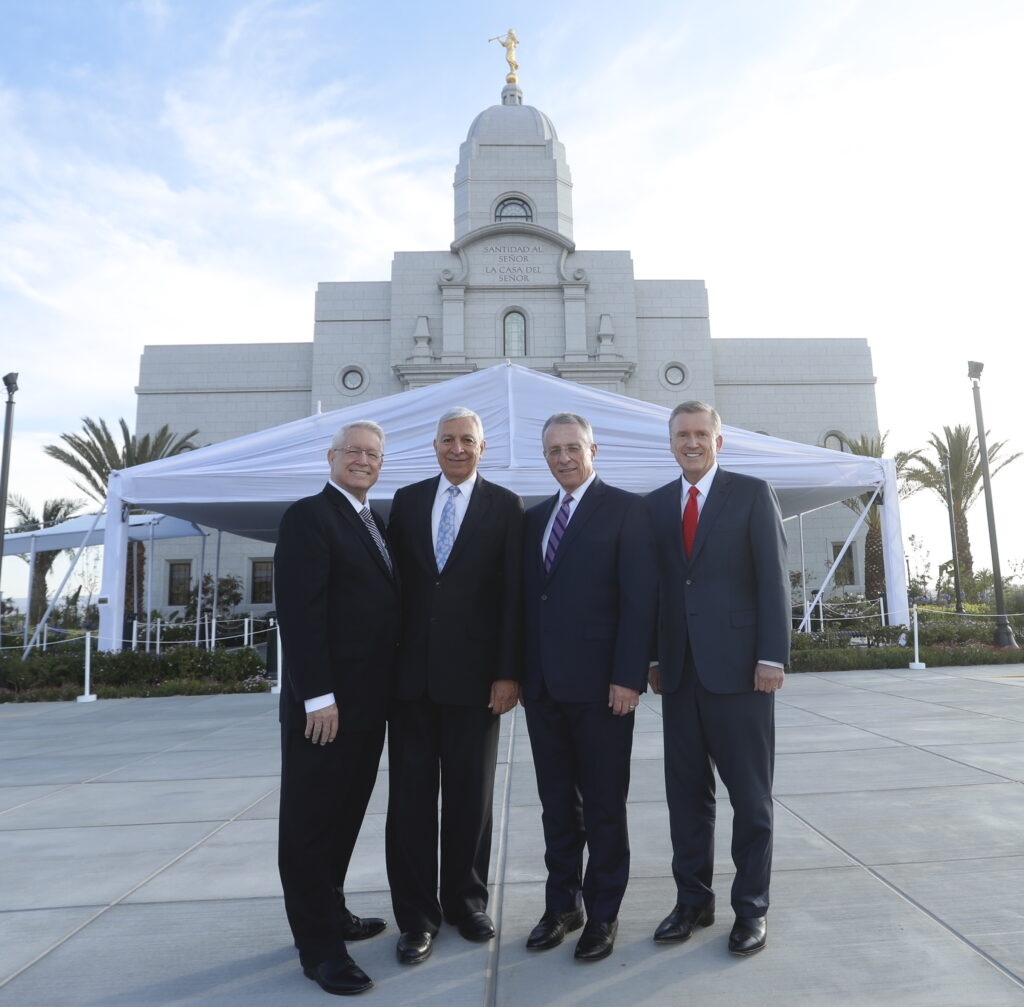 Elder Ulisses Soares, second from right, dedicated the Arequipa Peru Temple on Dec. 15, 2019. He wa assisted by, from left, Bishop Dean M. Davies, Elder Enrique R. Falabella and Elder Kevin R. Duncan.