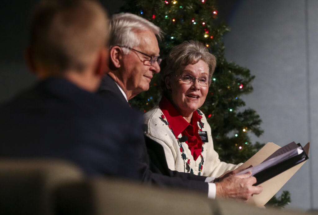 Sister Nancy LeSueur, right, speaks to the audience during the annual Christmas Eve Nativity Program at the Provo Missionary Training Center in Provo, Utah, on Tuesday, Dec. 24, 2019.
