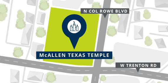 Location of the McAllen Texas Temple of The Church of Jesus Christ of Latter-day Saints, as announced by the First Presidency on Dec. 11, 2019.