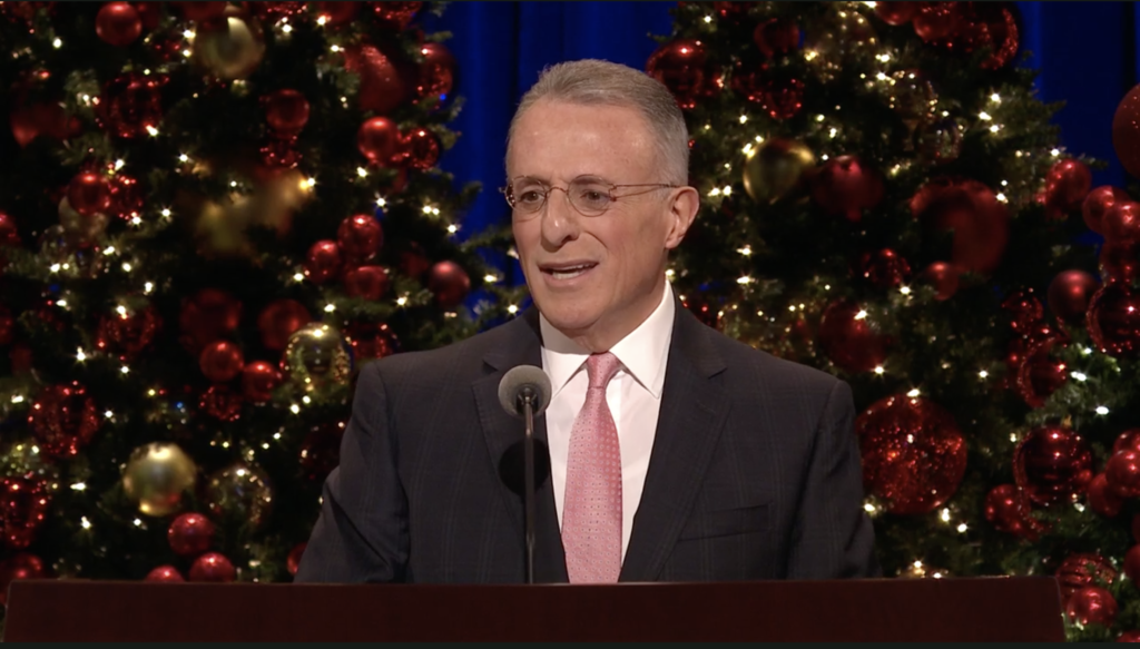 Elder Ulisses Soares of the Quorum of the Twelve Apostles speaks during the First Presidency Christmas Devotional in the Conference Center in Salt Lake City on Sunday, Dec. 8, 2019.