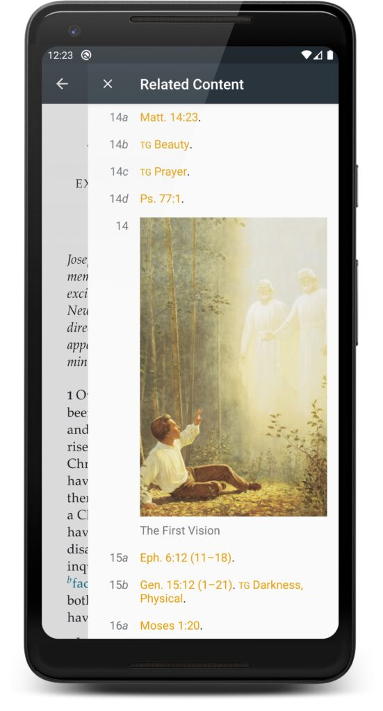 "Joseph Smith—History in the Pearl of Great Price on Android Gospel Library showing associated media in the ""Related Content"" sidebar."