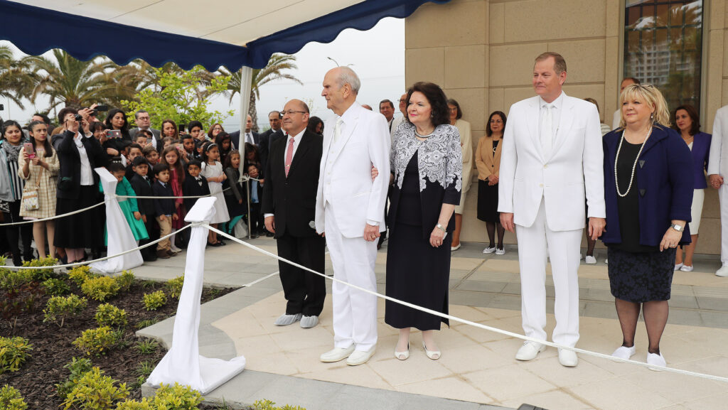 President Russell M. Nelson of The Church of Jesus Christ of Latter-day Saints is joined by his wife, Sister Wendy W. Nelson, Elder Gary E. Stevenson, of the Quorum of the Twelve Apostles, and his wife, Sister Lesa Stevenson, during the cornerstone ceremony of the dedication of the Concepción Chile Temple in Concepción, Chile, on Sunday, Oct. 28, 2018.