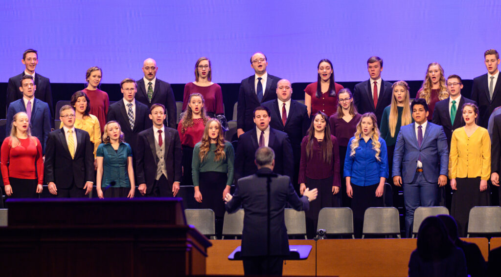 A choir of BYU-Idaho students sings at the first devotional of the winter semester held on campus in Rexburg, Idaho, on Jan. 14, 2020.
