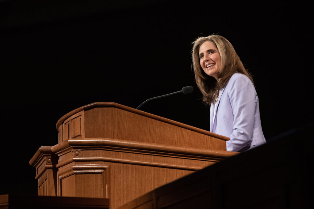 Sister Kelly C. Eyring, wife of BYU-Idaho President Henry J. Eyring, speaks to students during the first devotional of the winter semester in Rexburg, Idaho, on Jan. 14, 2020.