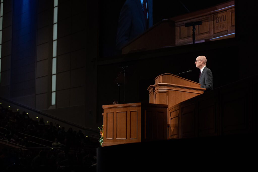 BYU-Idaho President Henry J. Eyring speaks to students during the first devotional of the winter semester in Rexburg, Idaho, on Jan. 14, 2020.