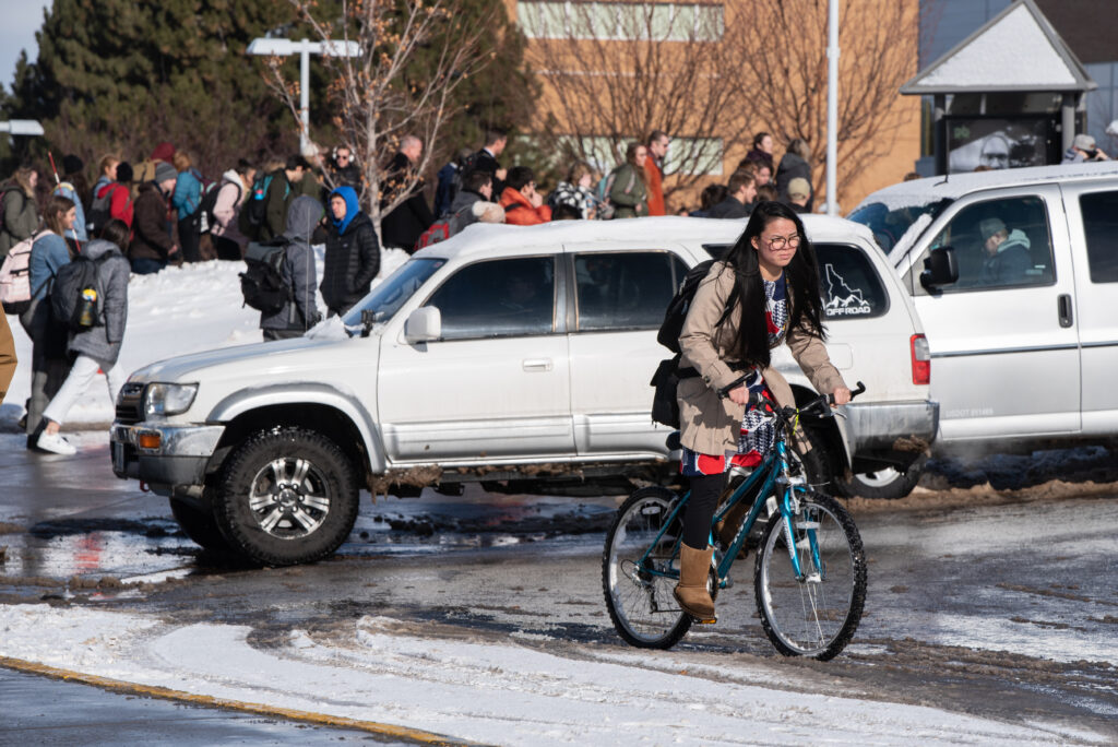 Attendees leave the first BYU-Idaho devotional of the winter semester in Rexburg, Idaho, on Jan. 14, 2020.