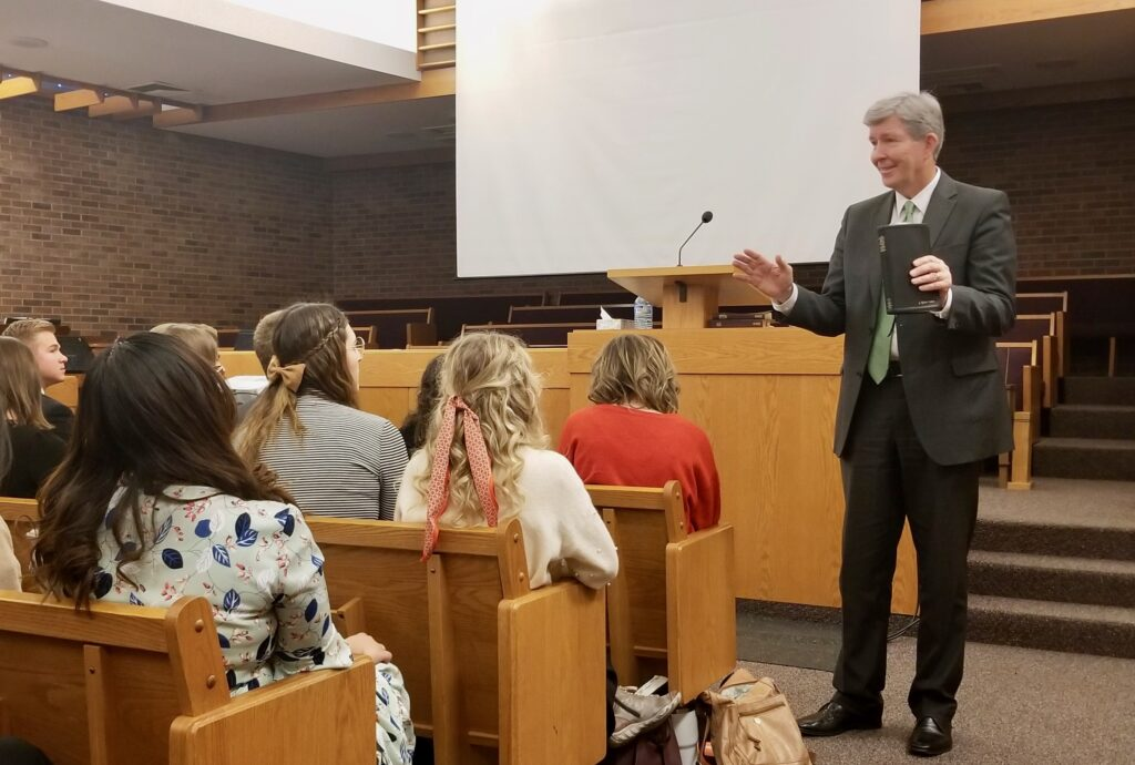 Elder S. Gifford Nielsen teaches missionaries during an Oct. 31, 2019, mission tour conference meeting with the Canada Calgary Mission in Calgary, Canada.
