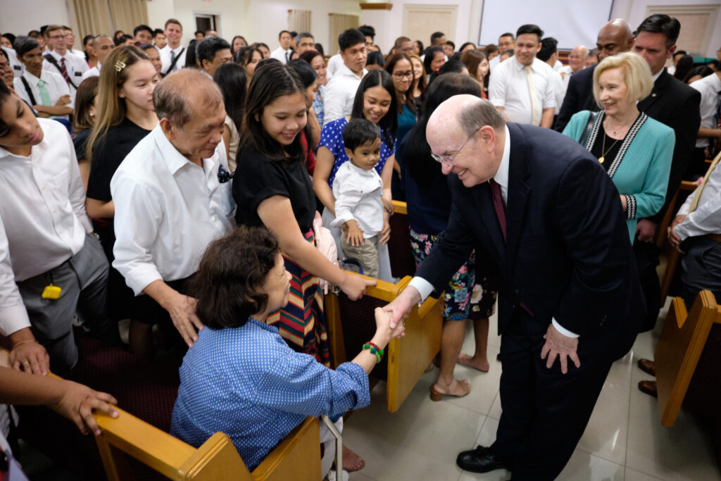 Elder Quentin L. Cook of the Quorum of the Twelve Apostles and his wife, Mary, greet Latter-day Saints at the Mandaluyong Philippines Stake Center in Manila, Sunday, Jan. 12, 2020.