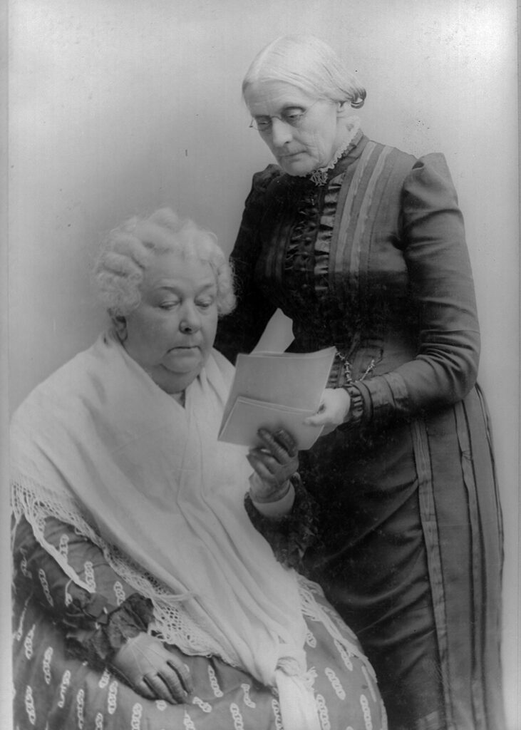 Elizabeth Cady Stanton and Susan B. Anthony, two of Americas leaders of the nationwide women's suffrage movement. Anthony came to Utah in 1870 to recognize Utah's first women voter.