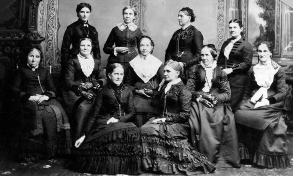 Deseret Hospital Board of Directors (left to right): front row, Jane S. Richards, Emmeline B. Wells, middle row, Phoebe Woodruff, Isabelle Horne, Eliza R. Snow, Zina Young, Marinda Hyde, back row, Dr. Ellis R. Shipp, Bathsheba W. Smith, Elizabeth Howard, Dr. Romania Pratt Penrose.
