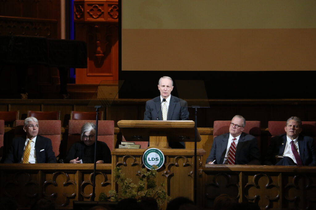 President Bruce C. Kusch speaks during an LDS Business College devotional held in the Assembly Hall at Temple Square on Jan. 14, 2020.