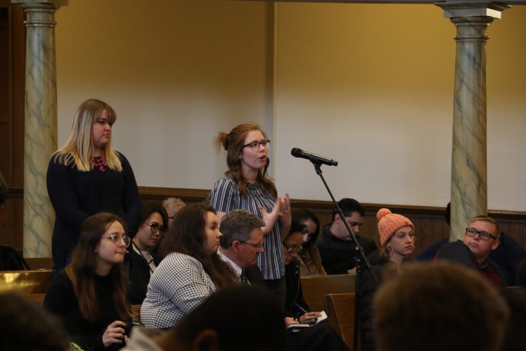 Hannah Johnson answers a question during an LDS Business College devotional held in the Assembly Hall at Temple Square on Jan. 14, 2020.