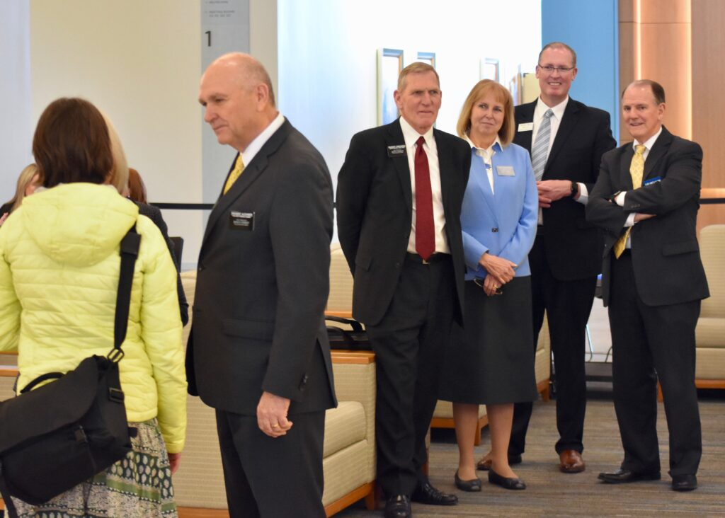 President Roger G. Christensen and Sister Christine C. Christensen, fourth and third from right, the new president and companion for the Colombia Missionary Training Center, watch the processing of new missionaries at the Provo MTC on Jan. 15, 2020, as part of the 2020 MTC Leadership Seminar. They are joined by Elder James B. Martino, right, a General Authority Seventy and assistant executive director int he Missionary Department, and Kelend I. Mills, second from right, director of MTCs.