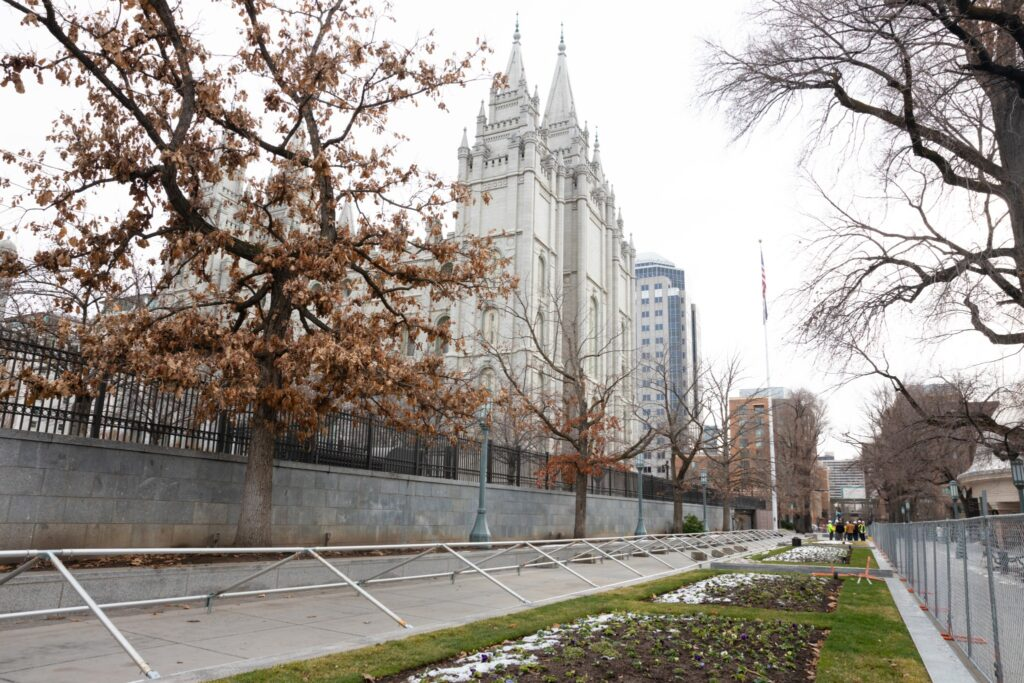 The Salt Lake Temple is pictured following its closure.