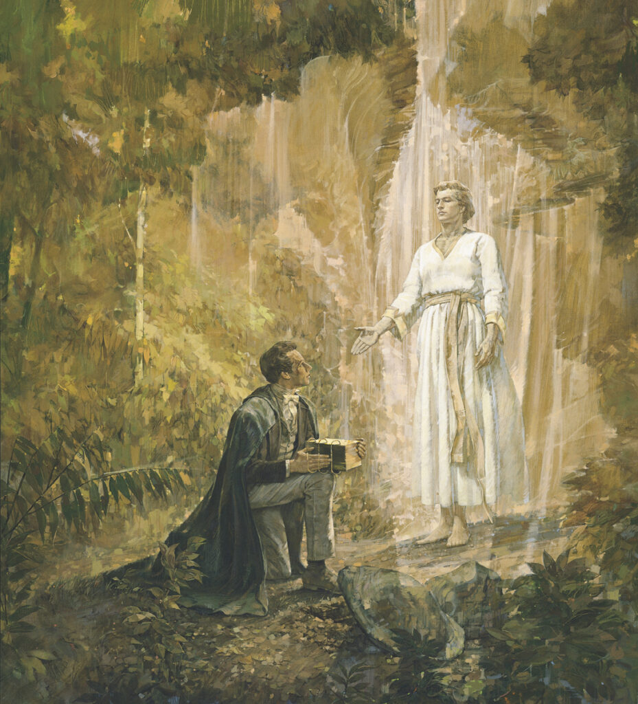 "The painting ""Joseph Smith Receives the Gold Plates"" by artist Kenneth Riley."