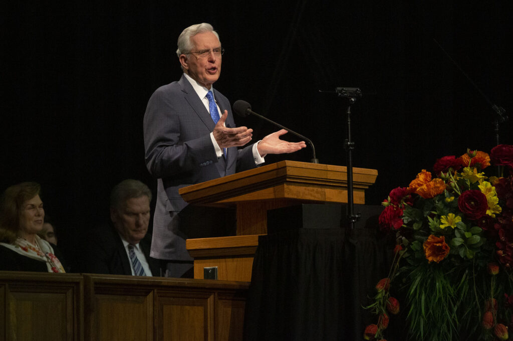 Elder D. Todd Christofferson addresses young adults during a worldwide devotional broadcast from the UCCU Center at Utah Valley University in Orem on Sunday, Jan. 12, 2020.