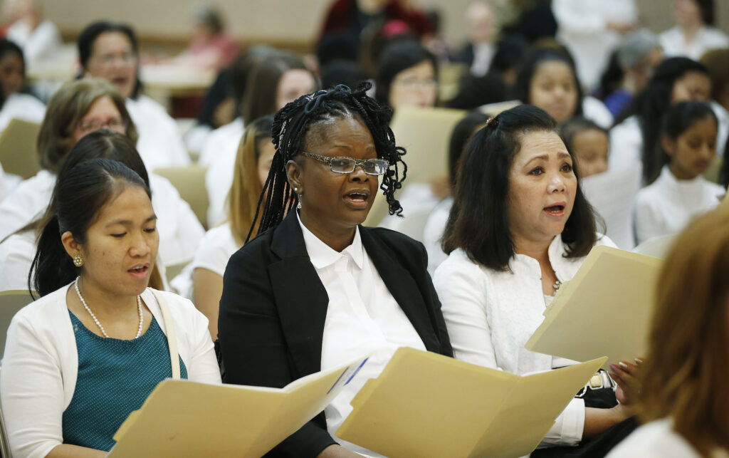 "A combined choir of women and girls from 50 countries practices for the 2016 general women's session of general conference. The ""unique"" Saturday evening session of the April 2020 general conference will include music by a multicultural choir."