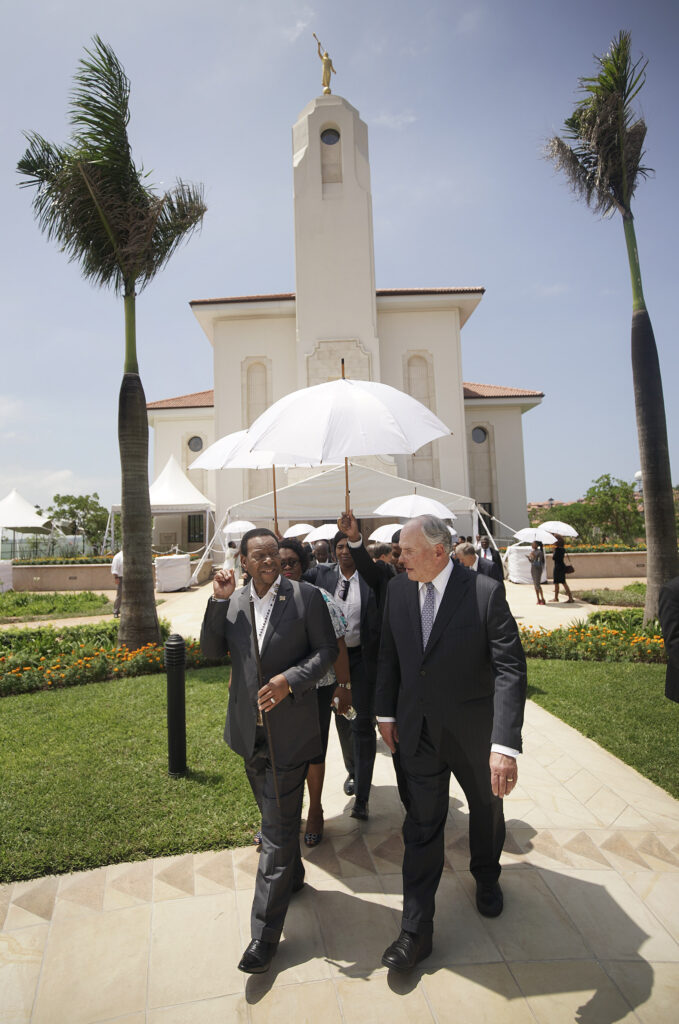 Elder Ronald A. Rasband, of The Church of Jesus Christ of Latter-day Saints' Quorum of the Twelve Apostles, gives a tour of the Durban South Africa Temple to His Majesty King Goodwill Zwelithini kaBhekuzulu, king of the Zulu nation, in Umhlanga, South Africa, on Saturday, Feb. 15, 2020.