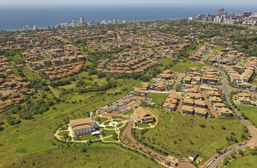 The Durban South Africa Temple — shown here sitting atop a hill in Umhlanga, South Africa, on its Feb. 16, 2020, dedication day — is the newest of the Church's 168 operating temples.