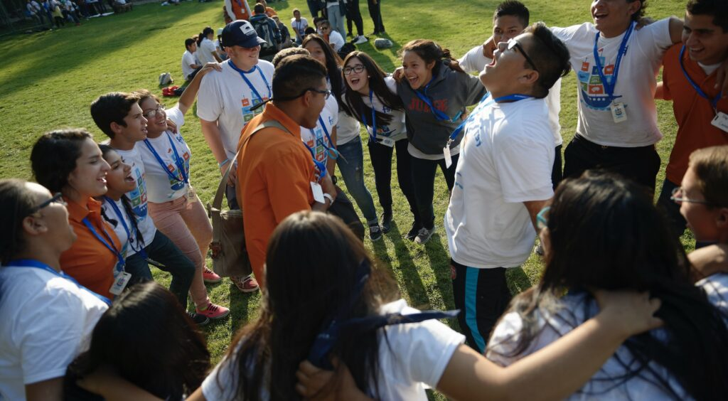 Young members of The Church of Jesus Christ of Latter-day Saints have fun during an activity at an FSY conference.