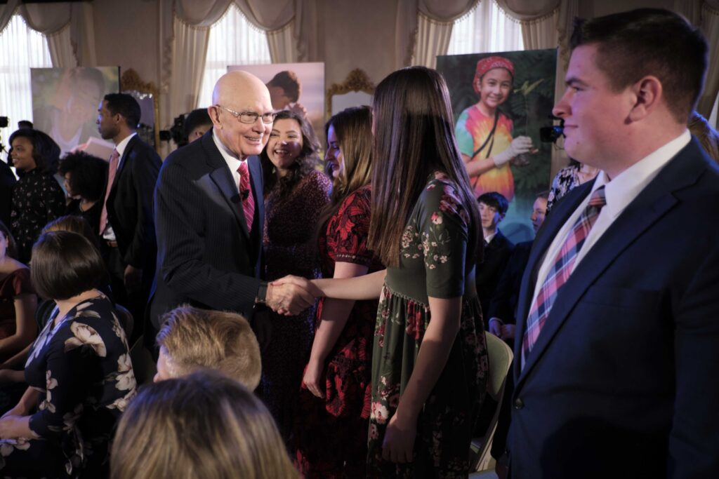 President Dallin H. Oaks, first counselor in the First Presidency, greets members of the audience at a Face to Face event that was broadcast on Sunday, Feb. 23, 2020.