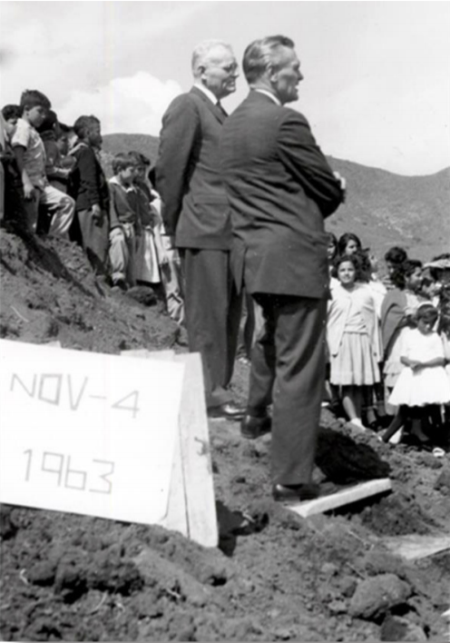 Elder Marion G. Romney of the Quorum of the Twelve, center and behind, speaks at the Nov. 4, 1963, groundbreaking for the Benemérito de las Americas school in Mexico City, Mexico.