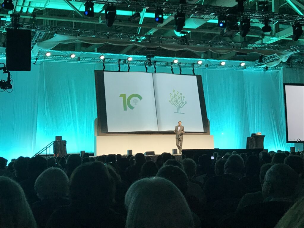 Steve Rockwood, FamilySearch CEO, shares stories of his mother, Grandma Marion, during his keynote address at RootsTech on Wednesday, Feb. 26.
