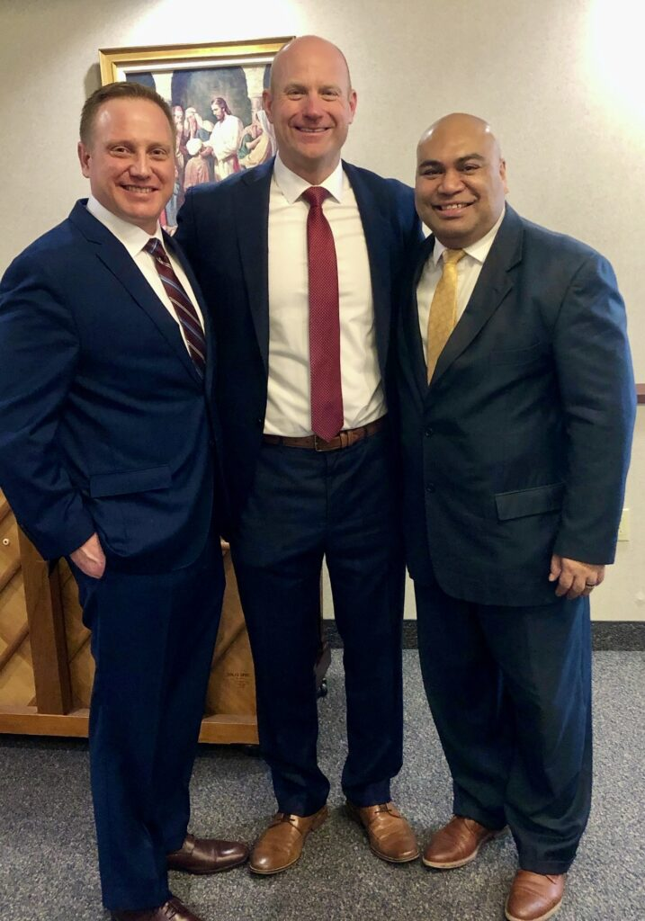 The new Pittsburgh North Stake presidency includes President Chris Hoke, center, with first counselor, President David Glover, left, and President Bernd Scanlan, second counselor.