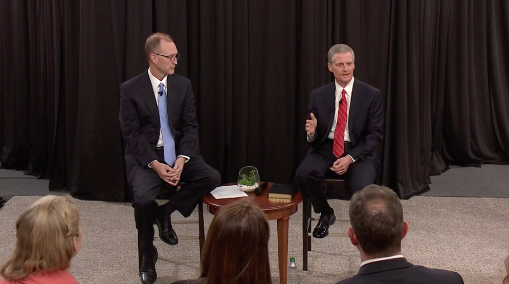 "Elder David A. Bednar, right, speaks during the Church Educational System's annual ""Evening with a General Authority"" on Feb. 7, 2020. Chad Webb, administrator of Seminaries and Institutes of Religion is seated on the left."