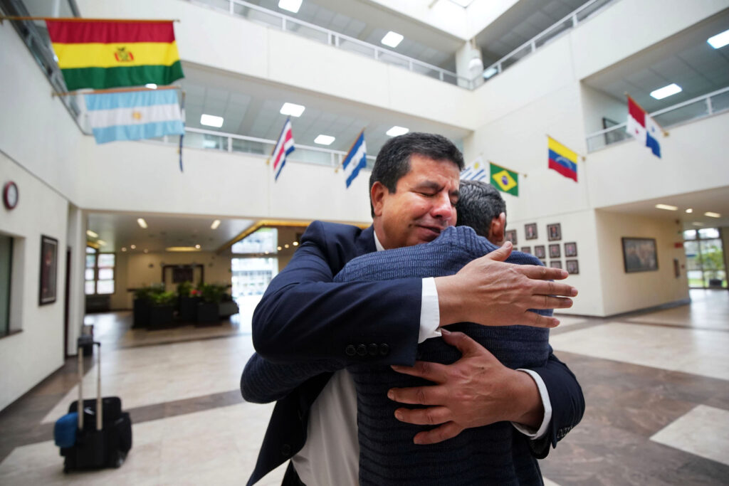 Nicolas Casteñeda, director of the Mexico Missionary Training Center of The Church of Jesus Christ of Latter-day Saints hugs Elder Enrique Cepeda of Nuevas Casas Grandes, Mexico, as they finish talking on Friday, Jan. 24, 2020.